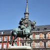 Monument of King Felipe III dating from 1616 in the center of Plaza Mayor.