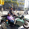 Us in our sidecar as our tour comes to an end. It was loads of fun traveling the city streets in this.