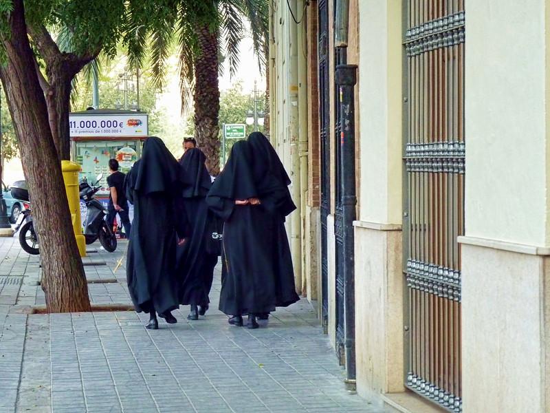 Nuns on the street in Valencia.