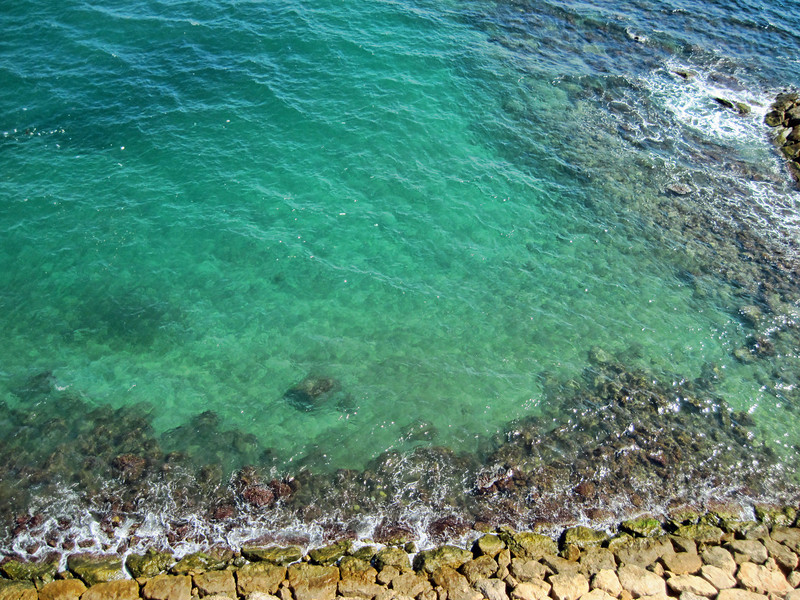 Looking down from our balcony. We slept with our doors open so we could hear the waves pounding the rocks below - heaven!