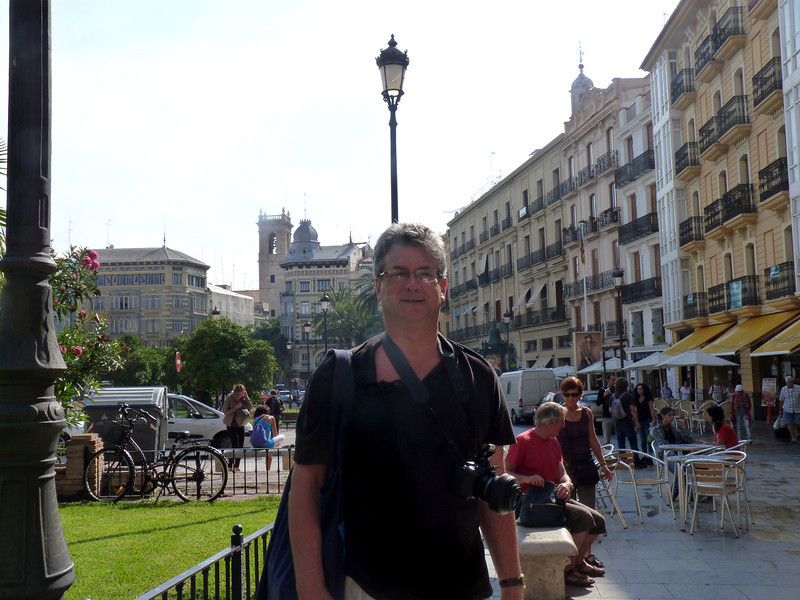 Rustem in the square in front of the Valencia Cathedral.