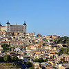 View of Toledo with the Alcázar situated on the highest point in the city. The entire city has been declared a national monument & is a UNESCO World Heritage site.