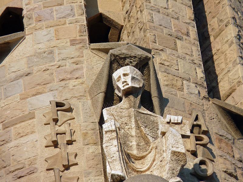 Anguished face on the Passion Facade of Sagrada Familia.