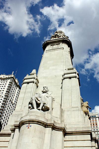 Monument to Miguel de Cervantes in Madrid's Plaza de España.