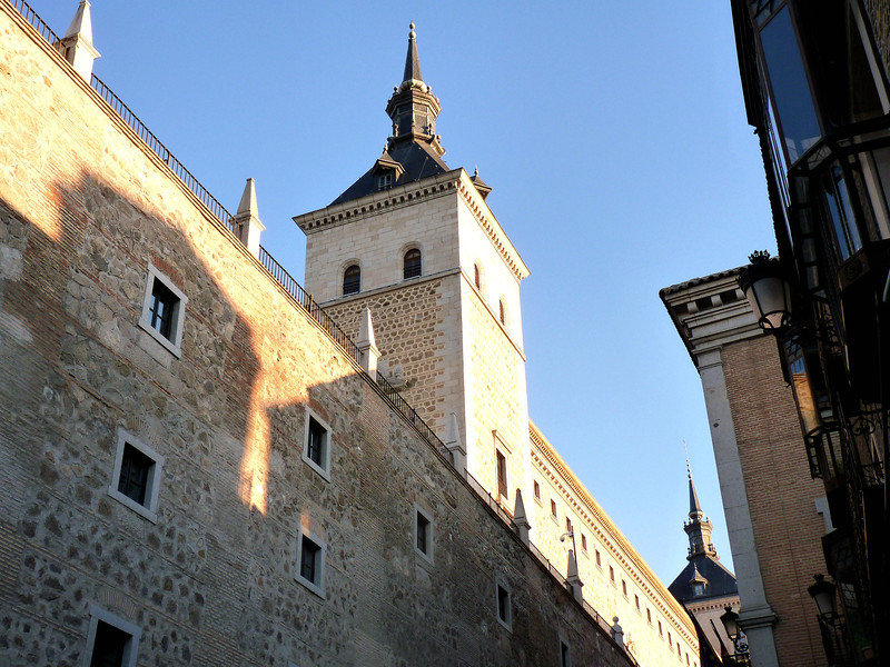 Side view of the Alcázar de Toledo. The fortress dates back to the 3rd century when it was a Roman palace. In the 1500s it was used as the Royal Palace prior to the capital being moved to Madrid.