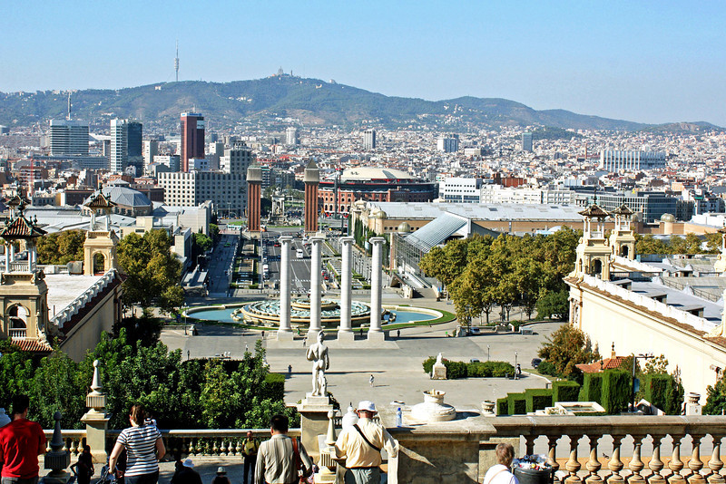 View from the hilltop where Barcelona's National Museum of Art of Catalunya is located.