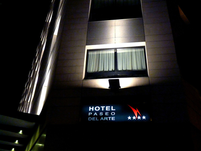 Late arrival at our Madrid hotel, Paseo del Arte.