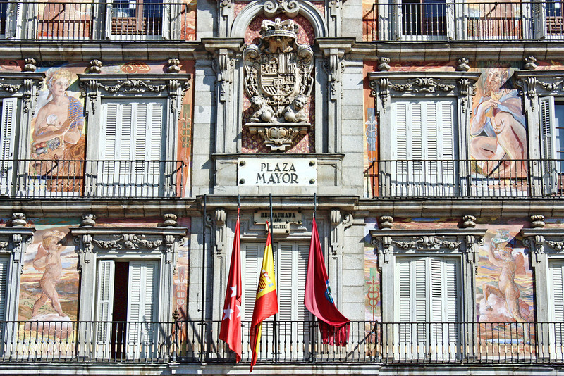 Casa de la Panaderia in Plaza Mayor - former home of the old Baker's Guild. Built in 1790, Plaza Mayor was originally a marketplace.It has also been used for bullfights, executions, and burning of heretics during the time of the Spanish Inquisition. The square can accommodate 100,000 people.