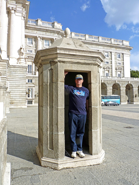 Rustem in a guard station at Madrid's Royal Palace.