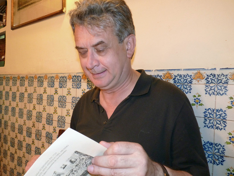 Rustem reading the menu at Botin, though we knew in advance we'd go for their specialty - suckling pig.