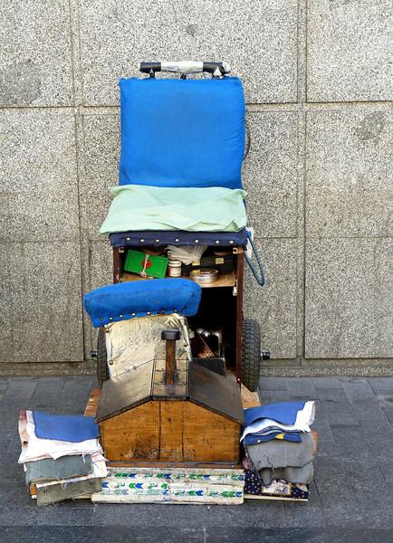 Shoe shine on Madrid's Gran Via.