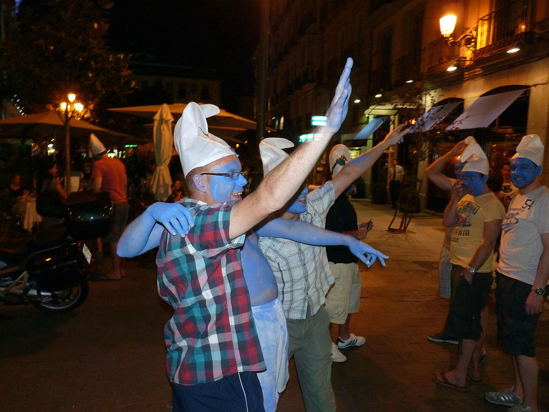 Rowdy blue men making a scene on the streets of Madrid.