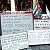 Protesters on Paseo del Prado.