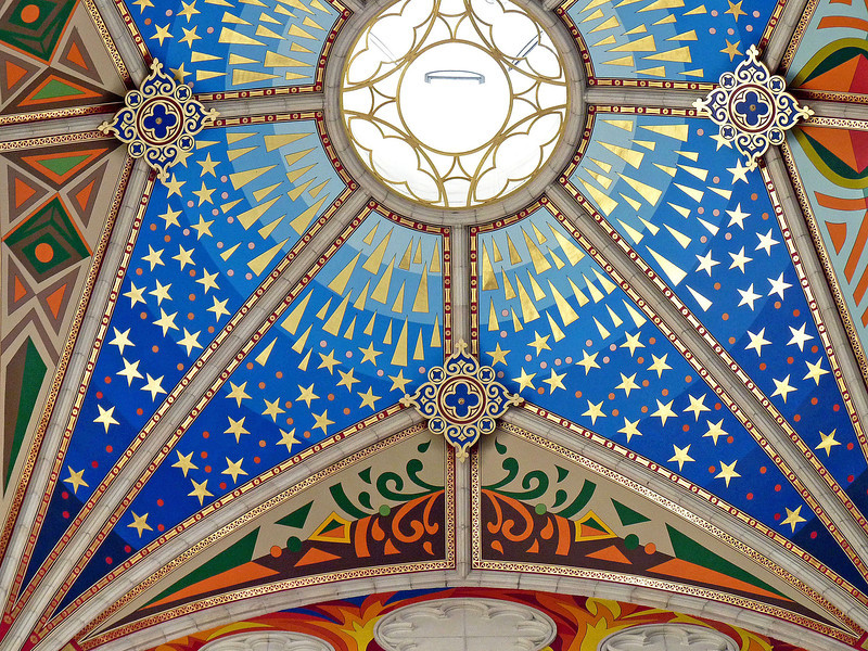 Unique & beautiful ceiling colors & design in Madrid's Cathedral Santa María la Real de La Almudena.
