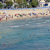 Beach-goers enjoying the Mediterranean. (Zoom from our balcony)