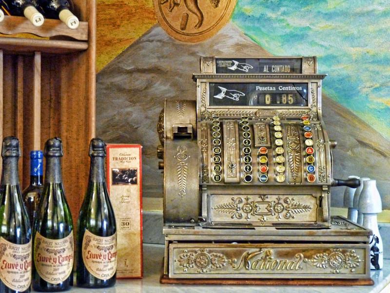 85 Centimos. Old cash register in a Madrid shop.