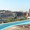 Infinity pool atop the B-Hotel with a stunning view of Plaza Espanya.