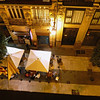 Night time view onto the street from our room at the Vincci Lys in Valencia.