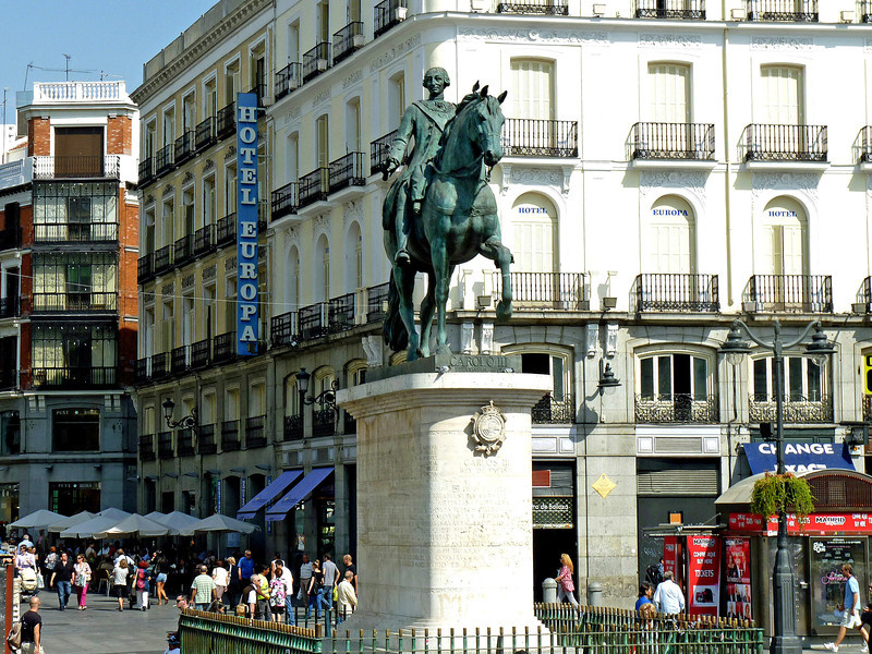 Monument to King Charles III in Plaza Puerto del Sol.