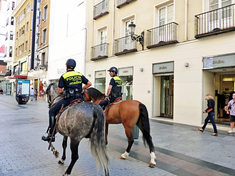 Madrid police patrolling the streets.