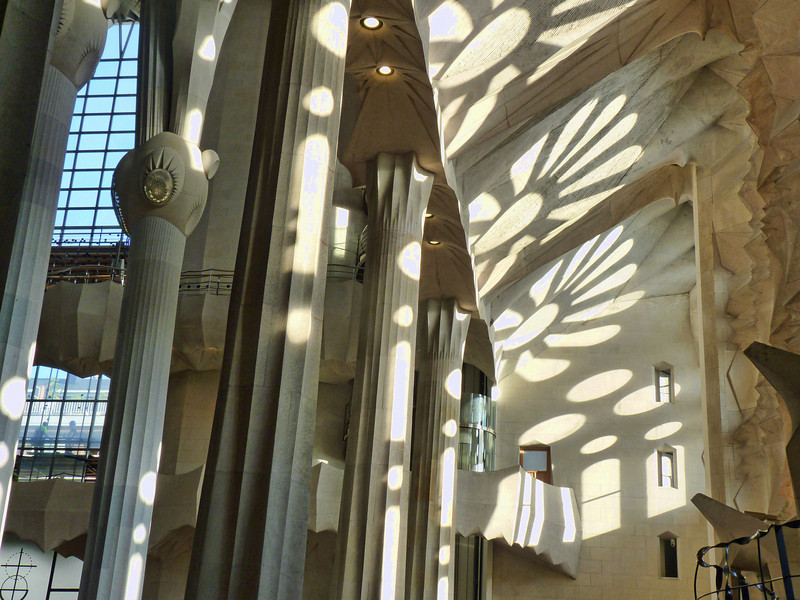 Light patterns in Sagrada Familia.