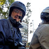 Wireless headsets in the helmets enable the three of us to communicate.