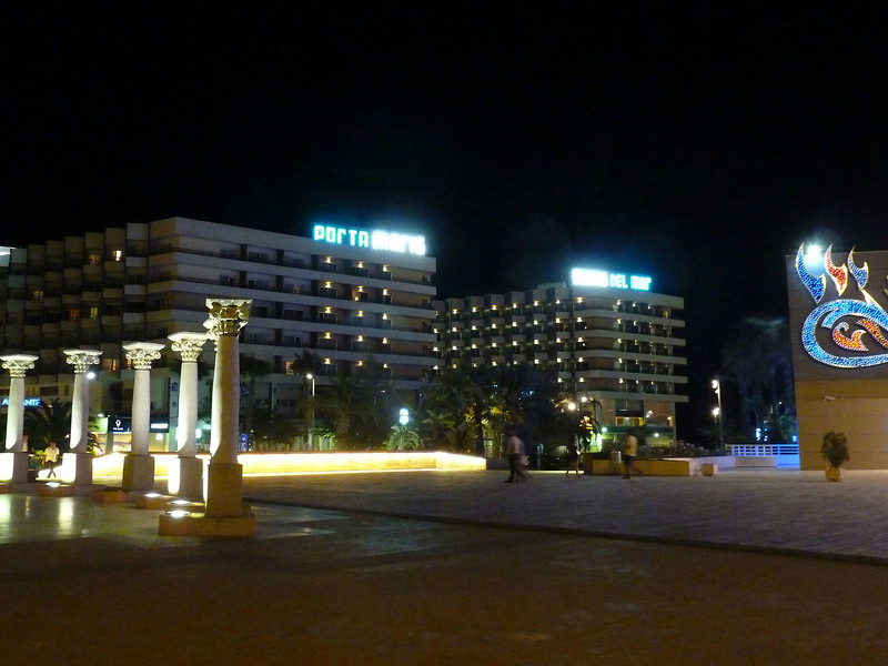 The plaza across from our hotel at night.