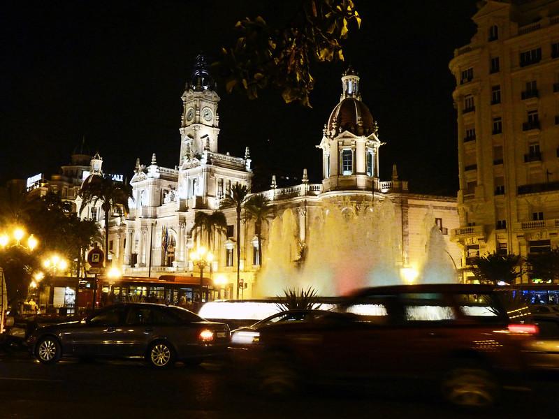 Valencia's City Hall lit up at night.