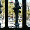 View onto Passeig de Gràcia through a window at Casa Battlo.
