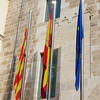 Flags in front of the Valencia Regional Parliament.