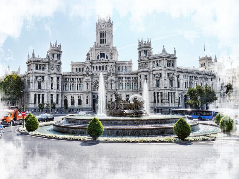 Madrid's Palacio de Telecomunicaciones (Post Office building) in Plaza de Cibeles built in 1909.