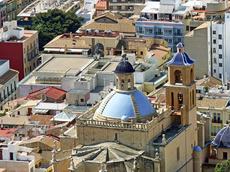 The blue dome of the 17th Century Cathedral of San Nicolás viewed atop the Castillo.