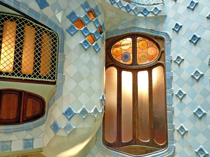 Beautifully tiled interior courtyard and windows. Casa Battlo is a UNESCO World Heritage site.