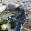 View of the square in front of the Cathedral of Valencia from its rooftop tower.