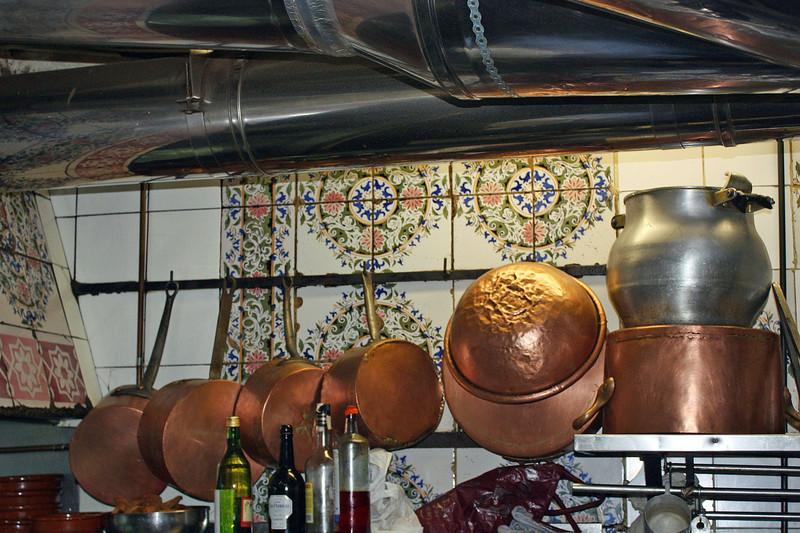 Copper pots in Botin's kitchen.