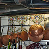 Copper pots in Botin's kitchen.