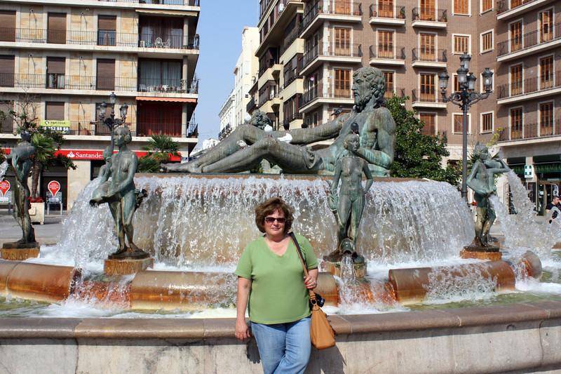Susan at the Poseidon fountain.