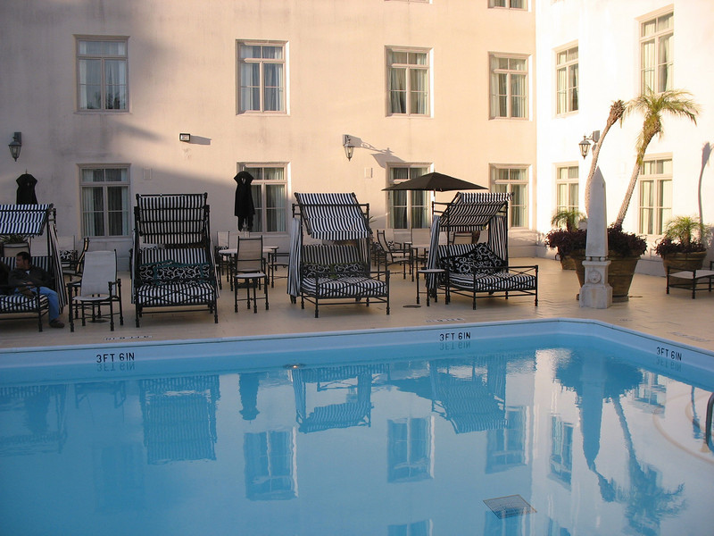 Wonderful bed chaises. Pool side at the Casa Monica Hotel.