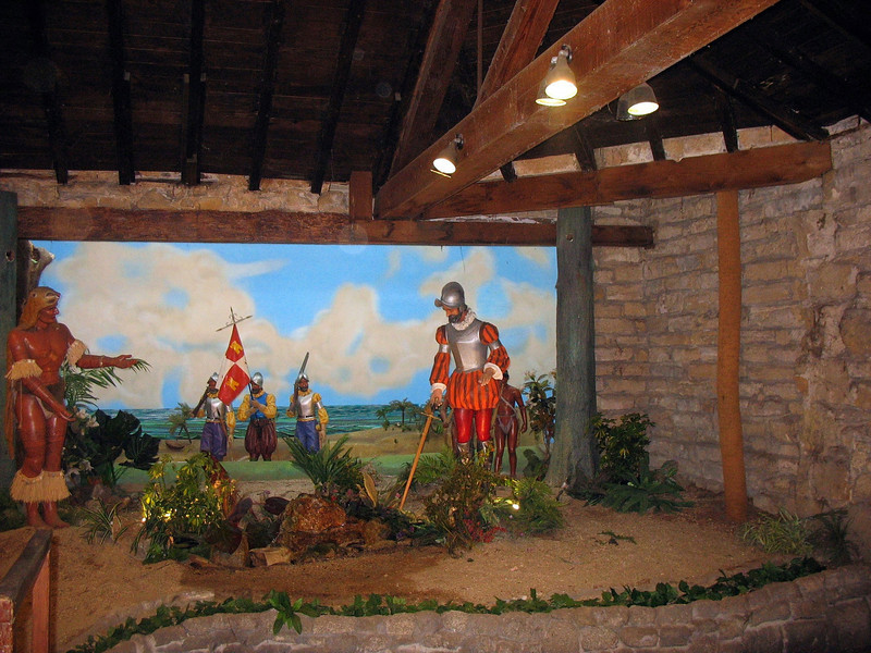 Diorama of the conquistadors landing in Florida.
