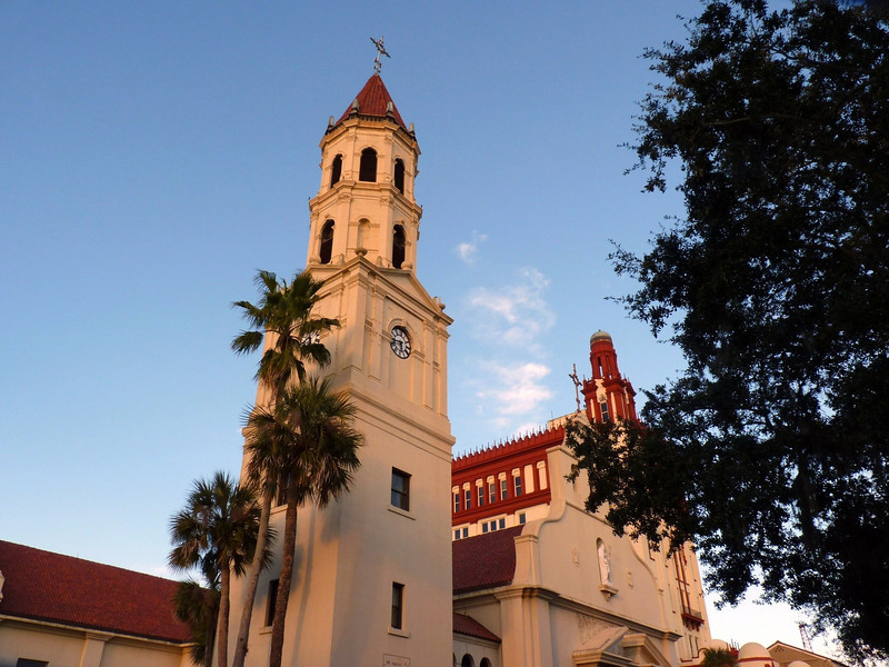 The cathedral's bell tower was added in 1887.