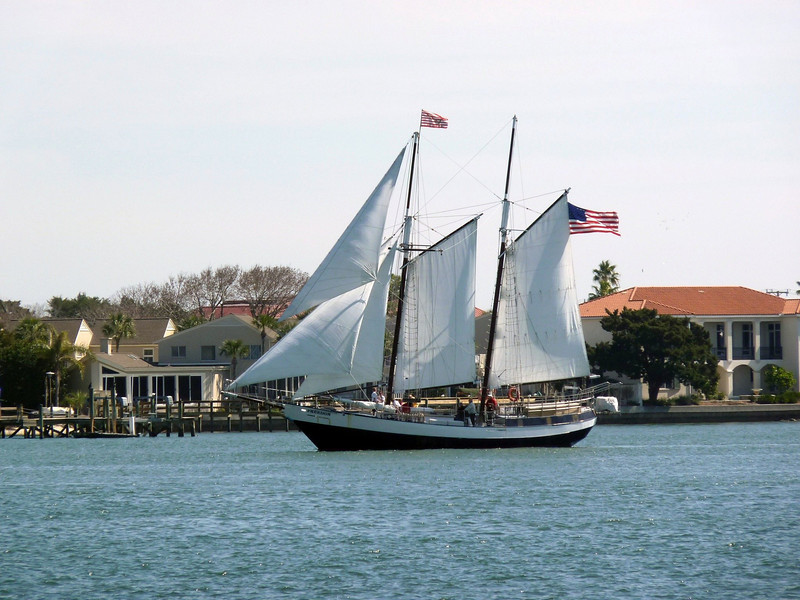Sailing ship in Matanzas Bay.