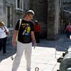 Rustem looking at an old Spanish cannon. Castillo de San Marcos.
