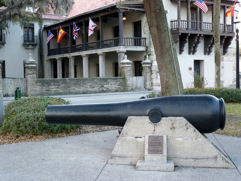 Cannon in front of St. Augustine's old government house. Built in the years 1706-1713, Government House was the home of Florida's Spanish governor and the capitol of the colony.
