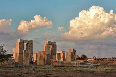 The Stonehenge replica is located on the campus of the University of Texas of the Permian Basin in Odessa, TX