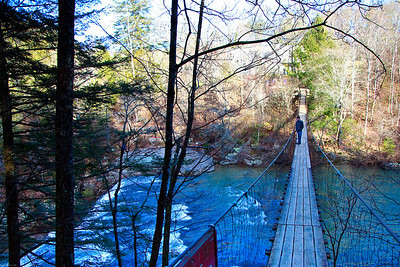 Fall Creek Falls suspension Bridge & Alan looking at the falls