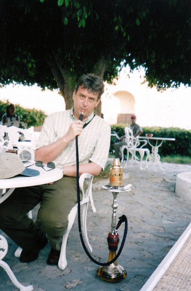Smoking a hookah at a Mahdia café