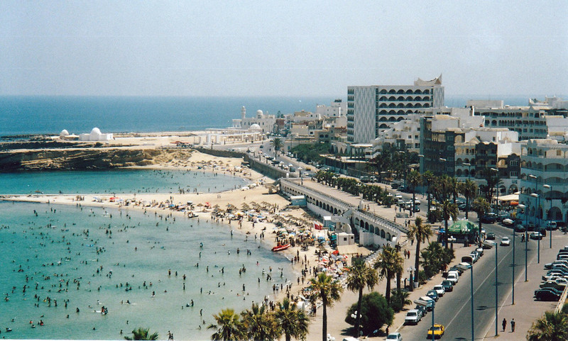 Crowded beach. View from Monastir fortress.