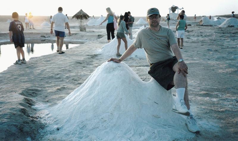Sitting on a pile of salt.