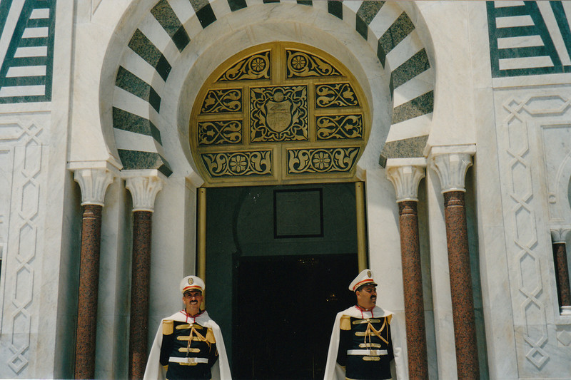 Guarding President Bourguiba's tomb. The guards thought we were such an unusual couple (Russian-American), that they let us through an unoffical entrance.