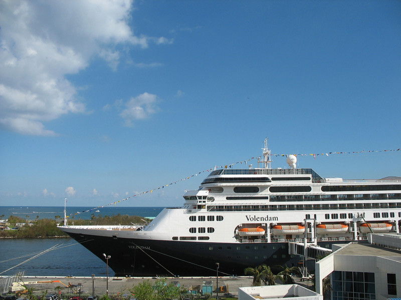 View of Holland America's Volendam docked in Port Everglades.